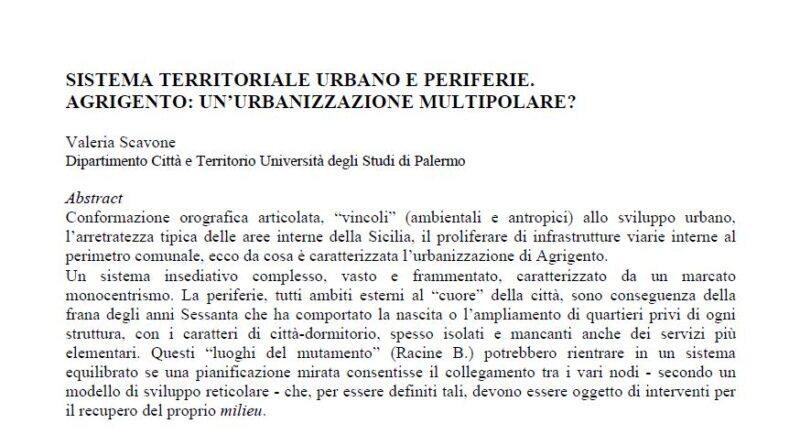 Sistema territoriale urbano e periferie: AGRIGENTO
